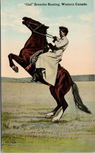Girl Broncho Busting Western Canada Woman Horse Broke Bloom Bros Postcard F14