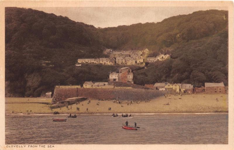 CLOVELLY DEVON UK AS VIEWED FROM SEA~G S REILLY MAJESTIC SERIES PHOTO POSTCARD