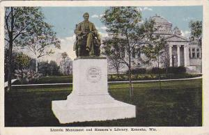 Lincoln Monument & Simmon's Library, Kenosha, Wisconsin, PU-1919