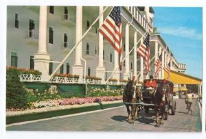 Grand Hotel Mackinac Island Michigan Horse Drawn Tour Bus Front Drive Flags