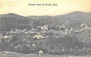 Erving MA Aerial View Downtown Railroad Station Postcard