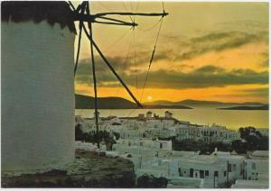 Greece, Sunset at Mykonos, unused Postcard