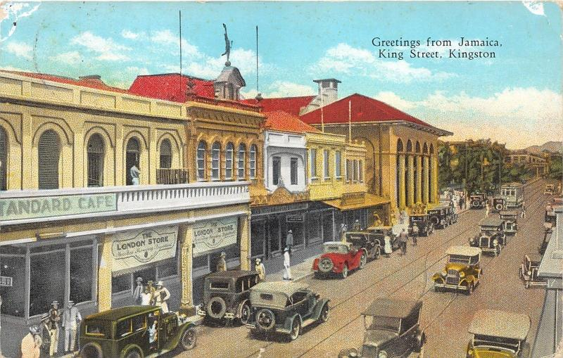 Kingston Jamaica~King Street~London Store~Standard Cafe~Lots of Cars~c1910 Pc