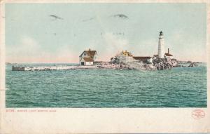 Boston Light House in Boston Harbor MA, Massachusetts - pm 1908 - UDB - Det Pub