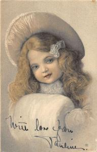 Pair Of Old Fasioned Children In Furs Portraits Antique Postcards K19205