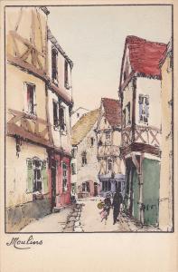 Sketch, Main Street in Moulins, Allier, France, 10-20s