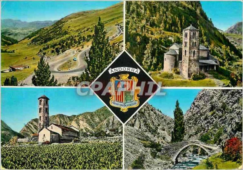 Modern Postcard Valleys of Andorra Laces and Refuge of Envalira Vault co. Colom