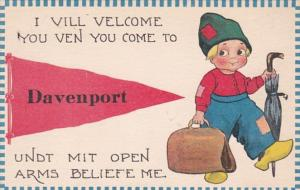 Iowa Davenport I Vill Velcome You Ven You Come Pennant Series