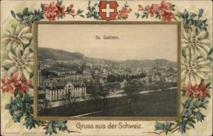 Gruss Aus Der Schweiz St. Gallen Switzerland Floral Border c1910 Used PC/Cover