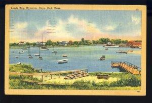 Hyannis, Massachusetts/MA Postcard, Lewis Bay, Sailboats, Cape Cod, 1950!