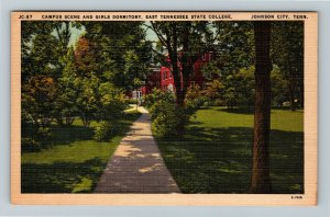Johnson City TN-Tennessee, East TN State College, Dormitory Linen Postcard