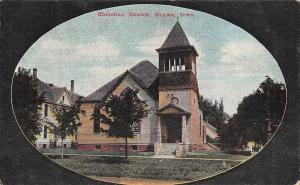 Onawa Iowa~Christian Church~Open Belltower~Oval Border Postcard 1908 PC