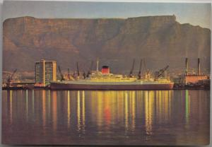 Ship by night, Duncan Dock, Cape Town, South Africa, unused Postcard