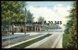 343 - SACANDAGA PARK NY Postcard 1911 Depot Train Station by Hamwey