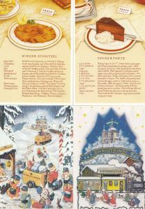 Wien Vienna Christmas Cake Food Sachertorte Recipe 4x Postcard s