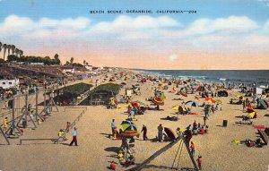 Beach Scene, Oceanside, California, Early Postcard, Unused