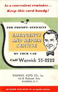 Warwick Auto Co Advertising Unused
