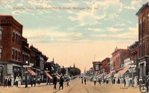Michigan City Indiana~Western Union & Telegraph & Cable~4th & Franklin~c1910 PC