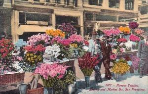 California San Francisco Flower Venders Rearny And Market Streets 1914