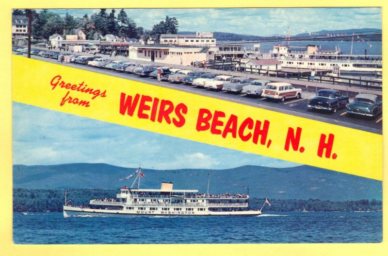 GREETING FROM WEIRS BEACH, N.H. LAKE WINNIPISAUKEE  SEE SCAN