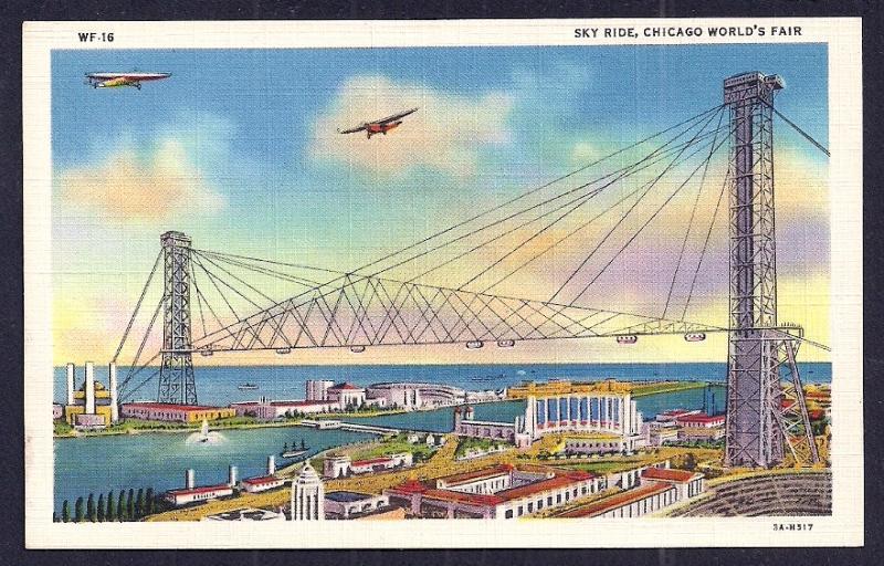 'Sky Ride' Worlds Fair Chicago IL Unused c1933