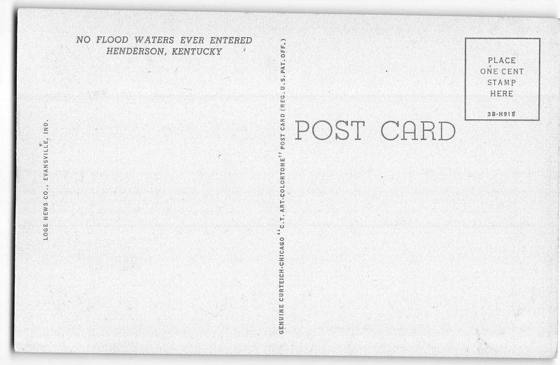 Main Street, Henderson, Kentucky - Hotel Soaper - 1943 Teich Linen Postcard
