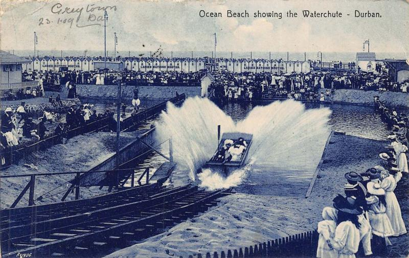 South Africa Durban Ocean Beach waterchute postcard