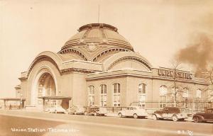 Tacoma WA Union Station Railroad Depot RPPC Postcard