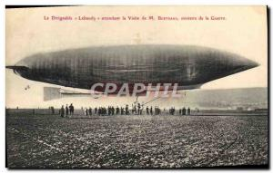 Old Postcard Jet Aviation Zeppelin Airship Lebaudy awaiting the visit of Mini...