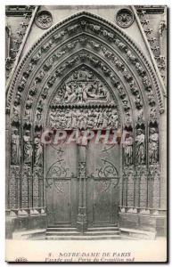 Old Postcard Paris Notre Dame Facade South Gate South Brace