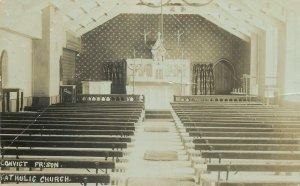 Australia TASMANIA Convict Prison Church interior photo postcard PORT ARTHUR