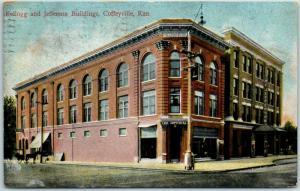 1909 Coffeyville, Kansas Postcard Kellogg & Jefferson Buildings Downtown