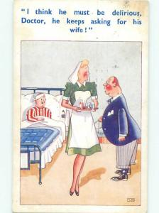 Pre-Linen Slight Risque Interest SEXY NURSE ATTENDS TO MAN IN BED AB7453