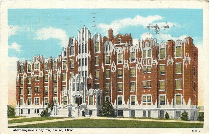 Tulsa Oklahoma~Morningside Hospital~1940 Postcard
