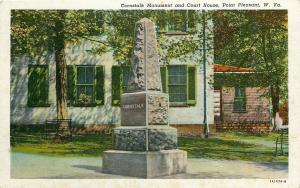 Point Pleasant West Virginia~Cornstalk Monument~Court House~1940s Postcard