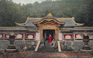 Japanese Temple with Priests, Japan, Early Postcard, Unused