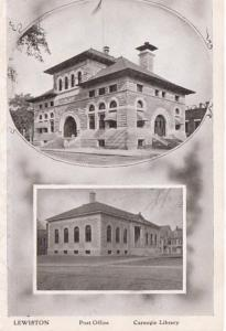 Maine Lewiston Post Office and Carnegie Library
