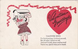 VALENTINE'S DAY; Greetings, Girl putting letter in mailbox, Valentine News ...