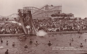Chuting The Chute Skegness Swimming Pool Antique Real Photo Postcard