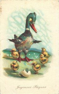 Easter greetings  Joyeuses Paques  duck chicks chromo postcard