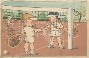 Comic tennis players handshake caricature Postcard