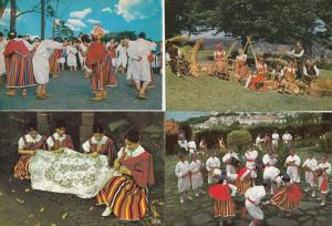 Funchal Madeira Wicker Makers Dancers Folklore Portugal Crafts 4x Postcard