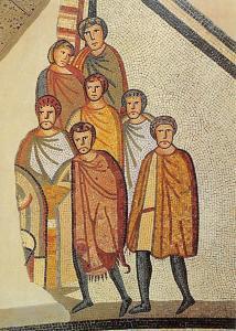 Koeln Roemisch-Germanisches Museum, Gladiatoren Mosaik