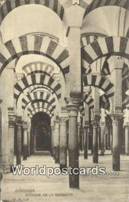 Interior de la Mezquita Cordoba Argentina Writing On Back