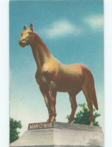 Unused Linen STATUE FOR FAMOUS MAN-O-WAR RACEHORSE Lexington Kentucky KY E6086