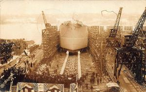 Portsmouth NH Launch of Ship Kisnop Kittery ME Signed RPPC Postcard
