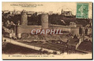 Old Postcard Fougeres Panoramic view of the Chateau