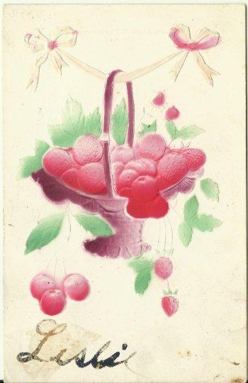 Basket of Red Cherries and Strawberries Heavily Embossed Air Brushed 1908