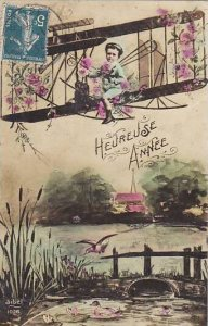 Heureose Annee Young Boy In Bi Plane 1912