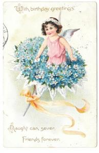 Tuck Fantasy Birthday Postcard Fairy Bouquet Forget Me Nots